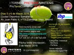 Cartel Torneo Pretenis Minitenis 2016