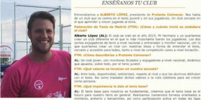 """Encuesta """"Enséñanos tu Club"""" de la FTM a Protenis Colmenar"""