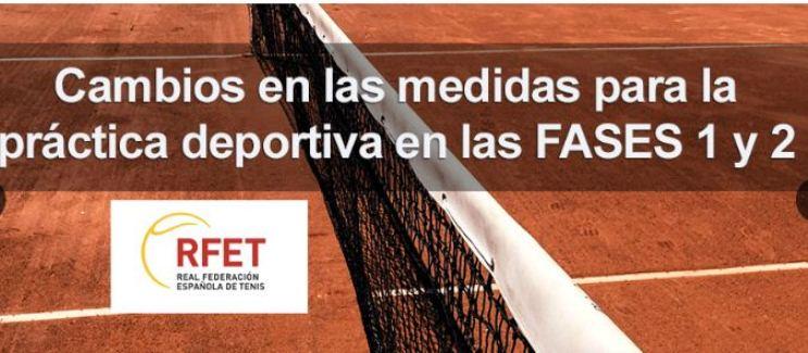 Nuevas medidas para la práctica deportiva en las FASES 1 y 2